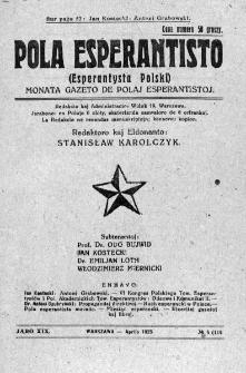 Pola Esperantisto. Jaro 19, no 4=114 (Aprilo 1925)