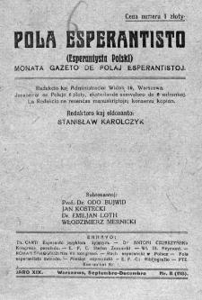Pola Esperantisto. Jaro 19, no 8=118 (Septembro-Decembro 1925)