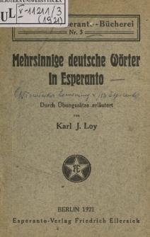 Mehrsinnige deutsche Wörter in Esperanto.