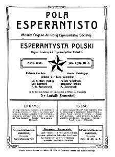 Pola Esperantisto. Jaro 1=3, no 4 (Aprilo 1908)
