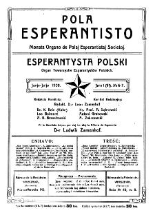 Pola Esperantisto. Jaro 1=3, no 6-7 (Junjo-Juljo 1908)