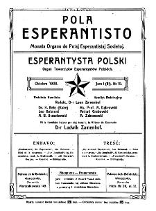 Pola Esperantisto. Jaro 1=3, no 10 (Oktobro 1908)