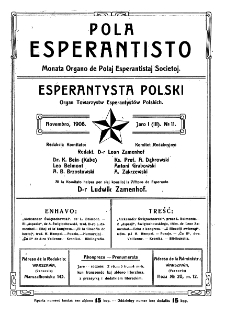 Pola Esperantisto. Jaro 1=3, no 11 (Novembro 1908)