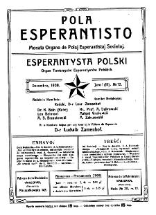 Pola Esperantisto. Jaro 1=3, no 12 (Decembro 1908)