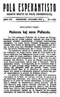 Pola Esperantisto. Jaro 17, no 3=89 (Decembro 1922)