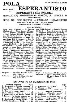 Pola Esperantisto : esperantaj sciigoj por pollingvanoj. Jaro 28 (1934), Spis treści
