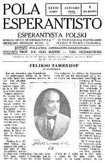 Pola Esperantisto : esperantaj sciigoj por pollingvanoj. Jaro 28, no 1 (Januaro 1934)