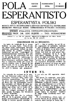 Pola Esperantisto : esperantaj sciigoj por pollingvanoj. Jaro 28, no 2 (Februaro 1934)