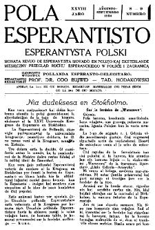 Pola Esperantisto : esperantaj sciigoj por pollingvanoj. Jaro 28, no 8-9 (Aŭgusto-Septembro 1934)