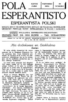 Pola Esperantisto : esperantaj sciigoj por pollingvanoj. Jaro 28, no 10 (Oktobro 1934)