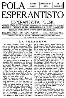 Pola Esperantisto : esperantaj sciigoj por pollingvanoj. Jaro 28, no 12 (Decembro 1934)