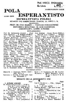 Pola Esperantisto : esperantaj sciigoj por pollingvanoj. Jaro 29, Spis treści (1935)