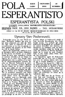 Pola Esperantisto : esperantaj sciigoj por pollingvanoj. Jaro 29, no 10 (Oktobro 1935)