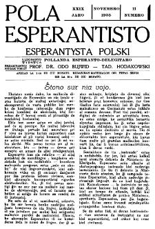 Pola Esperantisto : esperantaj sciigoj por pollingvanoj. Jaro 29, no 11 (Novembro 1935)