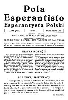 Pola Esperantisto : esperantaj sciigoj por pollingvanoj. Jaro 32, no 11 (Novembro 1938)