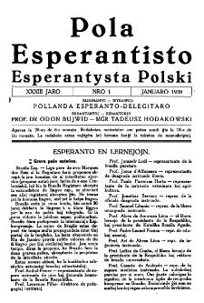 Pola Esperantisto : esperantaj sciigoj por pollingvanoj. Jaro 33, no 1 (Januaro 1939)