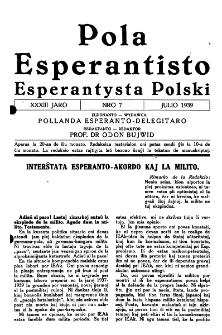 Pola Esperantisto : esperantaj sciigoj por pollingvanoj. Jaro 33, no 7 (Julio 1939)