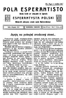 Pola Esperantisto. Jaro 4=6, no 7-8=52-53 (Julio-Aŭgusto 1911)