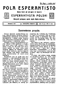 Pola Esperantisto. Jaro 4=6, no 11=56 (Novembro 1911)