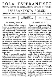Pola Esperantisto. Jaro 21, no 1 (Styczeń 1927)