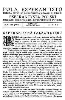 Pola Esperantisto. Jaro 21, no 4 (Kwiecień 1927)