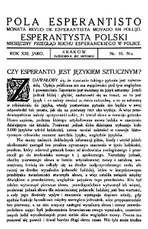 Pola Esperantisto. Jaro 21, no 10 (Październik 1927)