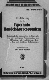 Einführung in die esperanto-handelskorrespondenz.