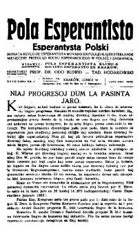 Pola Esperantisto : esperantaj sciigoj por pollingvanoj. Jaro 27, no 1 (Januaro 1933)