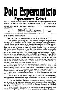 Pola Esperantisto : esperantaj sciigoj por pollingvanoj. Jaro 27, no 11 (Novembro 1933)