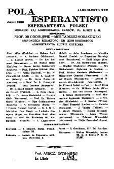Pola Esperantisto : esperantaj sciigoj por pollingvanoj. Jaro 30 (1936), Spis treści