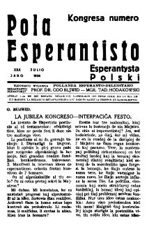 Pola Esperantisto : esperantaj sciigoj por pollingvanoj. Jaro 30, Kongresa numero (Julio 1936)