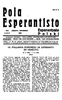 Pola Esperantisto : esperantaj sciigoj por pollingvanoj. Jaro 30, no 8-9 (Aŭgusto-Septembro 1936)