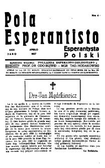 Pola Esperantisto : esperantaj sciigoj por pollingvanoj. Jaro 31, no 4 (Aprilo 1937)