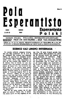 Pola Esperantisto : esperantaj sciigoj por pollingvanoj. Jaro 31, no 6 (Junio 1937)
