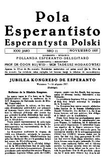 Pola Esperantisto : esperantaj sciigoj por pollingvanoj. Jaro 31, no 11 (Novembro 1937)