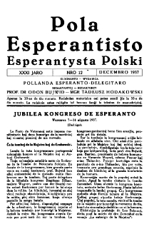 Pola Esperantisto : esperantaj sciigoj por pollingvanoj. Jaro 31, no 12 (Decembro 1937)