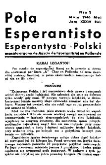 Pola Esperantisto : esperantaj sciigoj por pollingvanoj. Jaro 34, no 1 (Majo 1946)