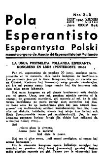 Pola Esperantisto : esperantaj sciigoj por pollingvanoj. Jaro 34, no 2-3 (Junio 1946)