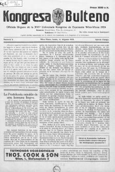 Kongresa Bulteno : oficiala Organo de la XVIa Universala Kongreso de Esperanto Wien-Vieno 1924. Numero 5
