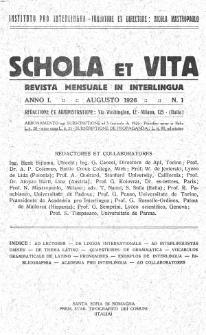 Schola et Vita : revista mensuale in interlingua. Anno 1, n. 1 (1926)
