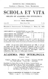 Schola et Vita : revista mensuale in interlingua. Anno 3, n. 3/4 (1928)