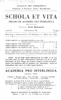Schola et Vita : revista mensuale in interlingua. Anno 3, n. 1/2 (1928)