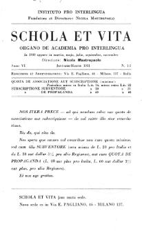 Schola et Vita : revista mensuale in interlingua. Anno 6, n. 1/3 (1931)