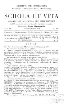 Schola et Vita : revista mensuale in interlingua. Anno 6, n. 8/10 (1931)