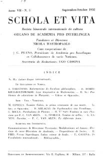 Schola et Vita : revista mensuale in interlingua. Anno 7, n. 5 (1932)