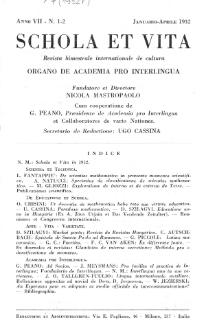Schola et Vita : revista mensuale in interlingua. Anno 7, n. 1/2 (1932)