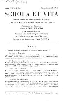 Schola et Vita : revista mensuale in interlingua. Anno 8, n. 1/2 (1933)