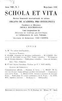 Schola et Vita : revista mensuale in interlingua. Anno 8, n. 3 (1933)
