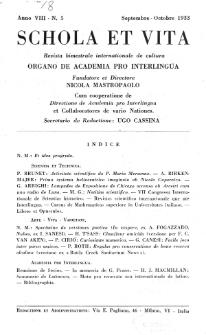 Schola et Vita : revista mensuale in interlingua. Anno 8, n. 5 (1933)