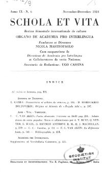 Schola et Vita : revista mensuale in interlingua. Anno 9, n. 6 (1934)